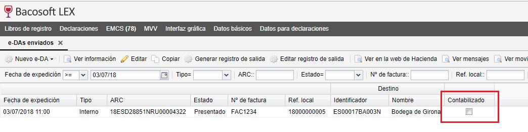 EMCS sin contabilizar